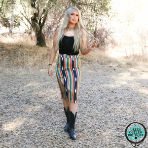 Falling In Serape Skirt - Urban Outlaw Boutique