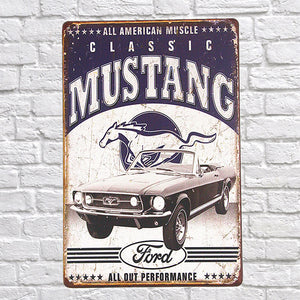 Vintage Style All American Muscle Classic Mustang Decorative Metal Sign