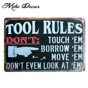 Vintage TOOL RULES Metal Sign Home Party Wall Craft  Painting Garage Decor 20*30 CM AA-771 - Chill Garage