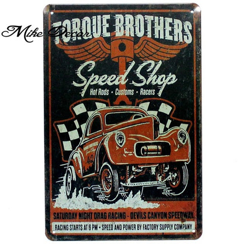 Vintage SPEED SHOP Metal Sign Home Party Wall Craft  Painting Garage Decor 20*30 CM AA-771 - Chill Garage