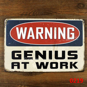 WARNING GENIUS AT WORK Tin Sign Vintage Wall Decor