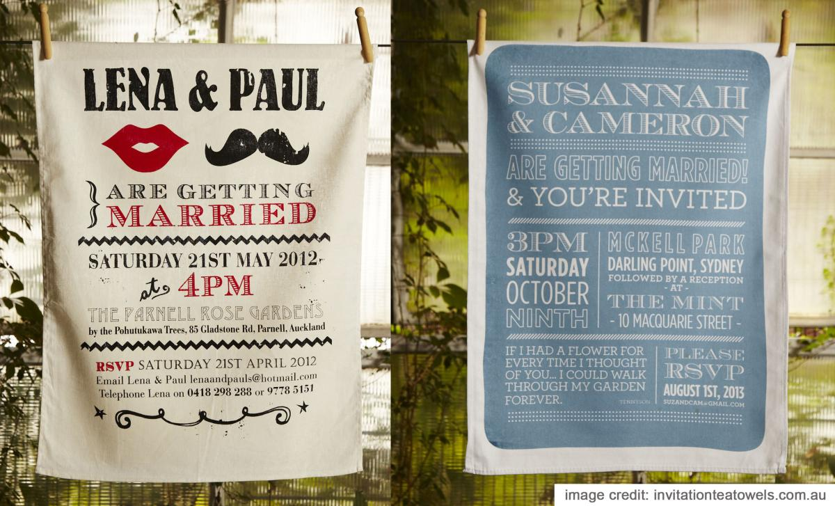 Wedding Tea Towels - Unique Personalized Wedding Invitation Gift Ideas