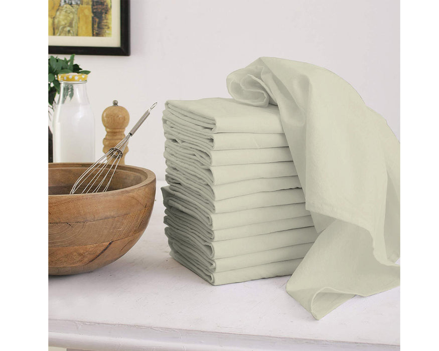 Heavyweight Flour Sack Towels, 27 x 27 Inches,  Set of 12, 100% Premium Cotton, Highly Absorbent, Multi-Purpose Kitchen Dish Towels, Perfect for Printing & Embroidery