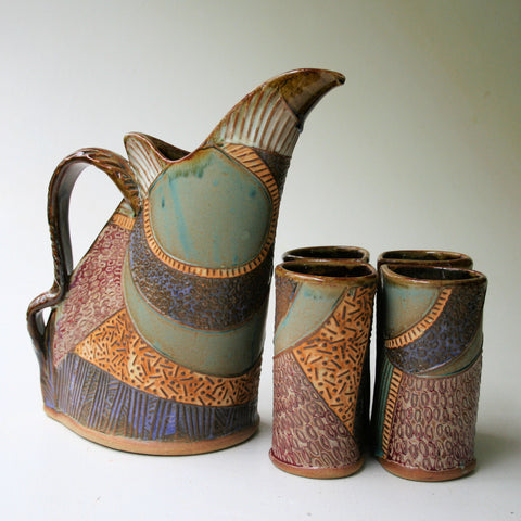 Abstract Pitcher Set with Four Tumblers, Pottery, Dishwasher Safe, Pottery, Ceramics