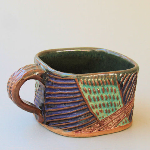 Abstract Soup Mug Hand Built Stoneware Microwave and Dishwasher Safe 18 oz