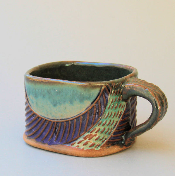 Abstract Soup Mug Hand Built Stoneware Microwave and Dishwasher Safe