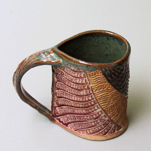 Abstract Pottery Mug Coffee Cup Handmade Textural Design Functional Tableware  12 oz
