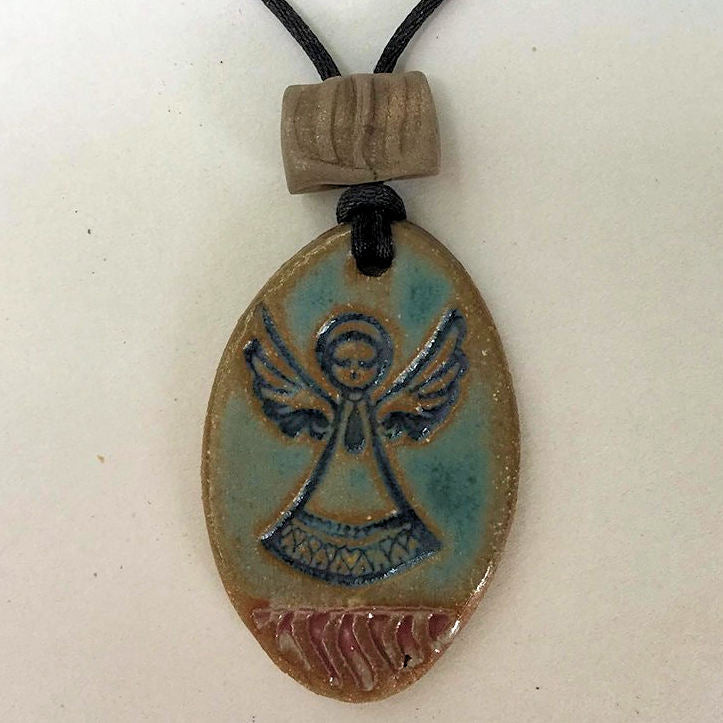 Angel Oval Shaped Essential oil diffuser clay pendant necklace