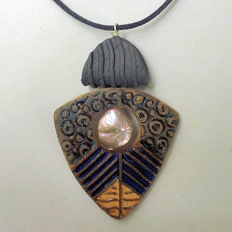 Pottery Pendant with Fresh Water Pearl