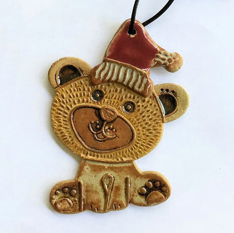 Bear Christmas Ornament Pottery Hand Made