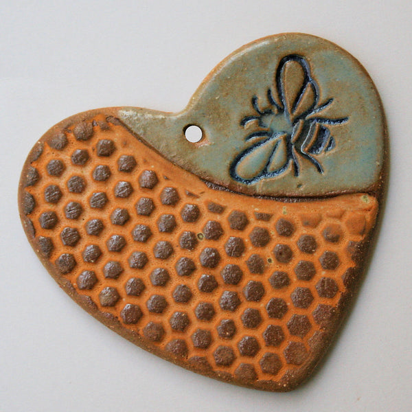 Bee and Honeycomb Heart Shaped Ornament