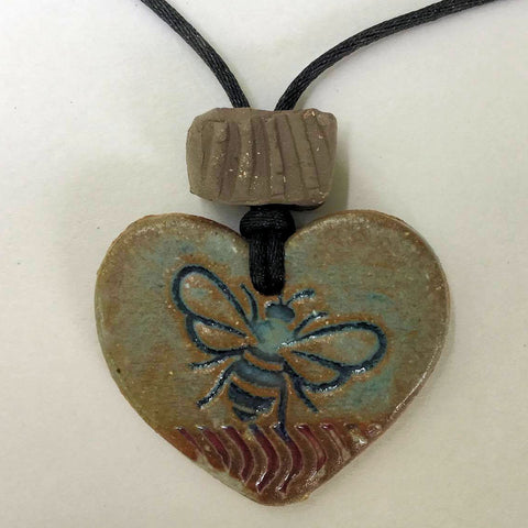 Bumble Bee Heart Shaped oil diffuser  clay pendant necklace rear view mirror ornament