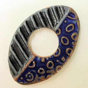 Abstract Focal Bead Oval Shape - Black and Blue