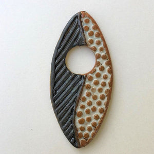 Abstract Focal Bead Black & White Marquise