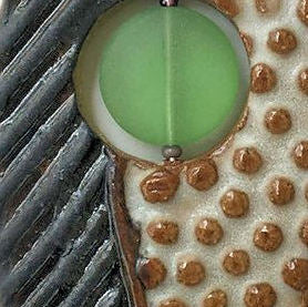 Clay Pendant Necklace with Sea Glass Bead