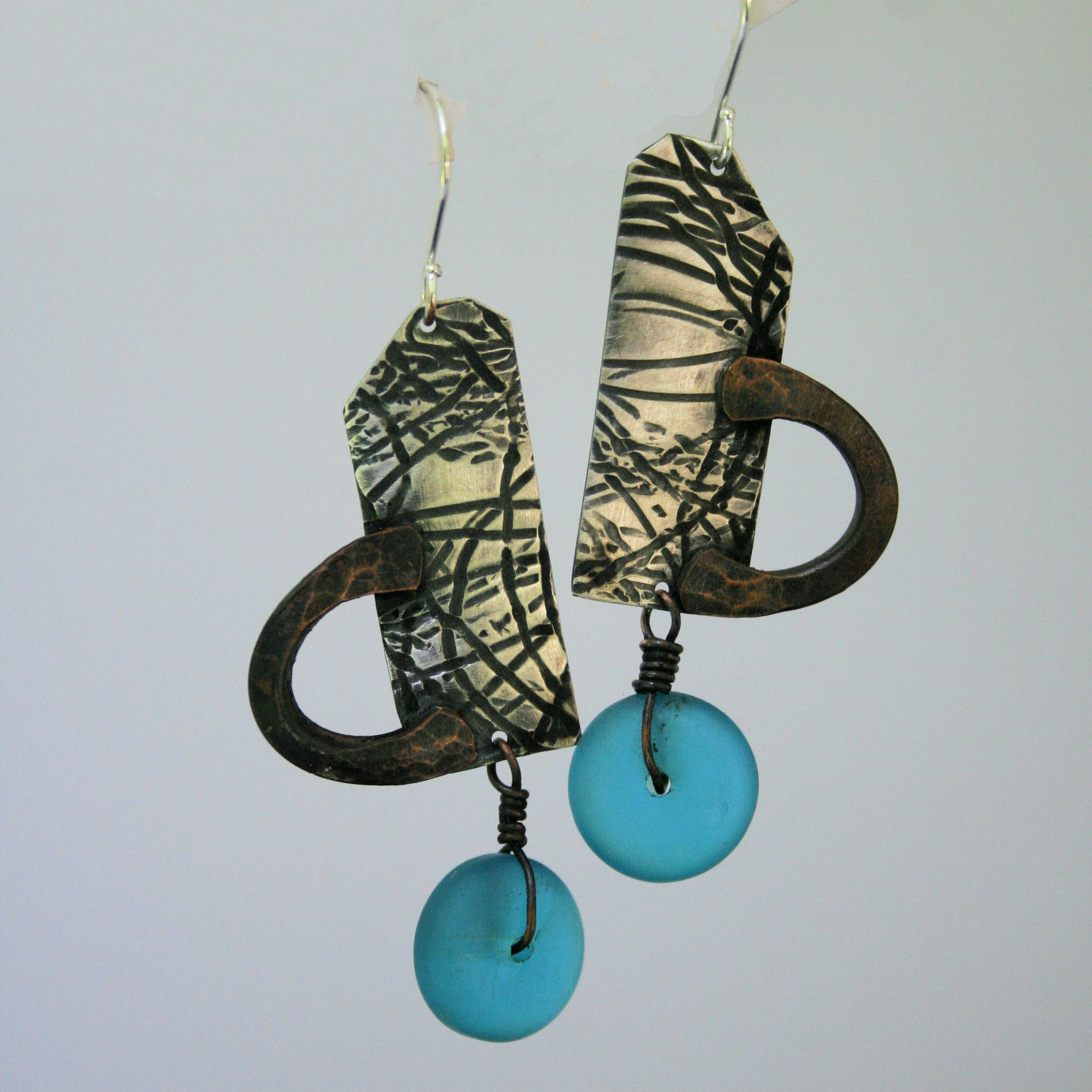 Sterling Silver, Copper and Blue Sea Glass Earrings