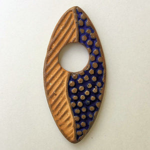 Abstract Focal Bead Gold & Blue Marque