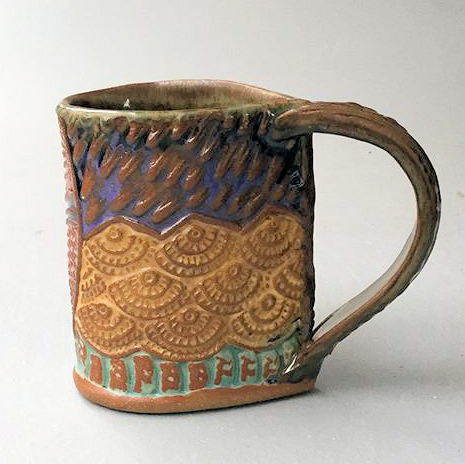 Egret Blue Heron Pottery Mug Coffee Cup Handmade Textural Design Functional Tableware  12 oz