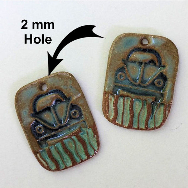 Hippie Bug Earring Beads Rectangle - set of two