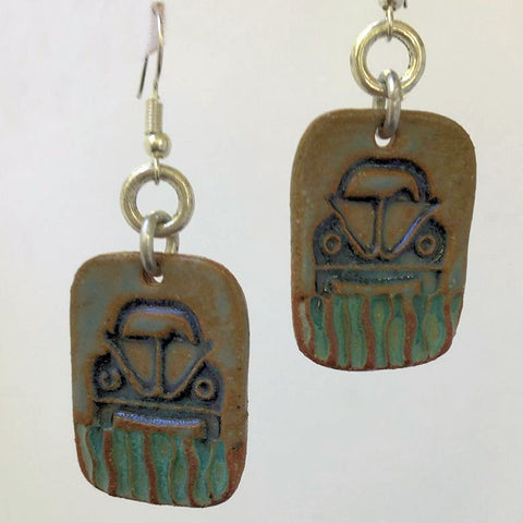 Hippie Bug Earrings hand-made stoneware beads