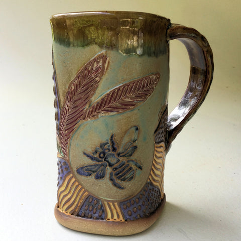 Bee Pottery Mug Coffee Cup Handmade Textural Design Functional Tableware 16 oz
