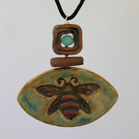 Bumble Bee clay pendant necklace by Helene Fielder