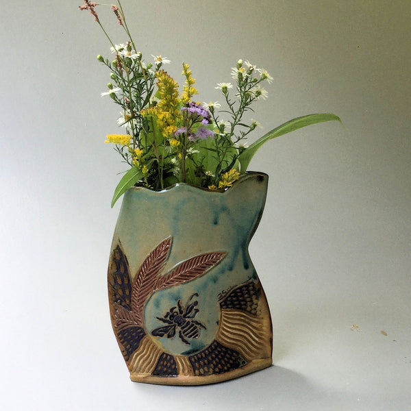 Bee Pottery Flower Vase Hand Made Clay Flower Holder