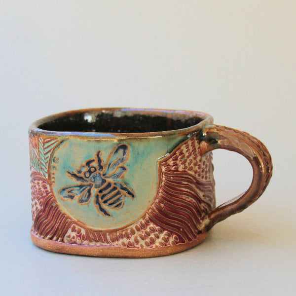 Bumble Bee Soup Mug Hand Built Stoneware Microwave and Dishwasher Safe