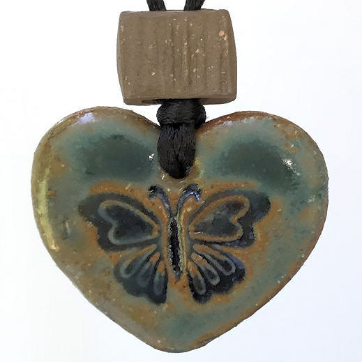 Butterfly Heart Shaped Rear View Mirror oil diffuser clay pendant