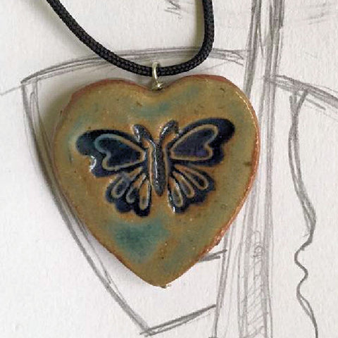 Butterfly Pendant Heart Shaped Necklace Clay Pocket Reminder Pottery Handmade