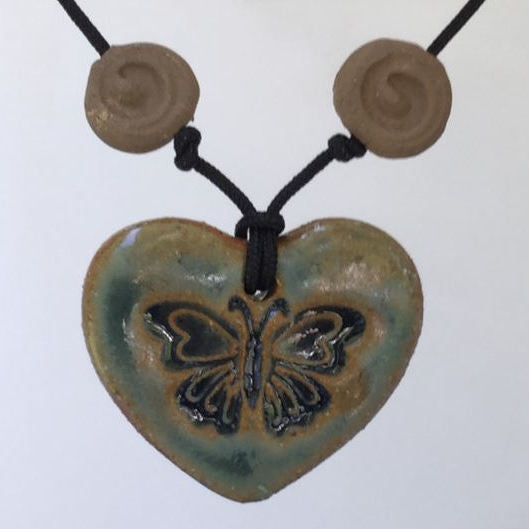 Butterfly Oil Diffuser Pendant Heart Shaped Pottery Clay Handmade