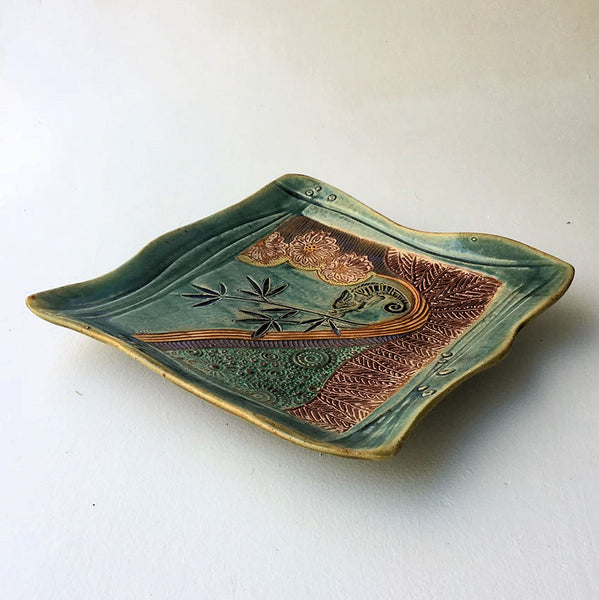 Chameleon Pottery Platter Large Microwave and Dishwasher Safe