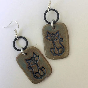 Cat Earrings hand-made stoneware beads