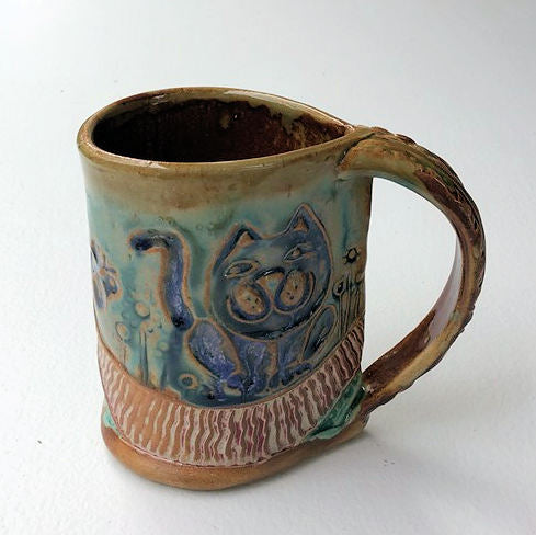 Cat Pottery Mug Coffee Cup Handmade Tableware Functional 12 oz