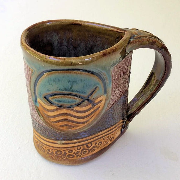 Ichthys Symbol Pottery Mug Coffee Cup Handmade Textural Design Functional Tableware 12 oz