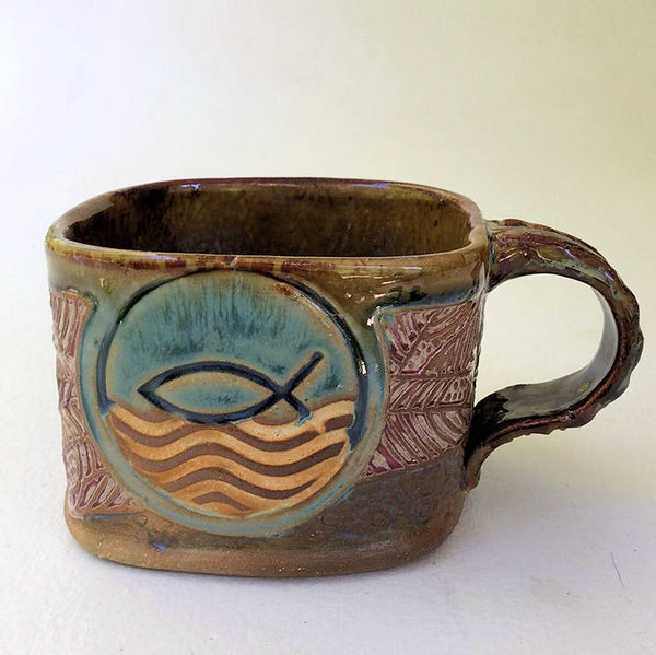 Fish Symbol Soup Mug Hand Built Stoneware Microwave and Dishwasher Safe