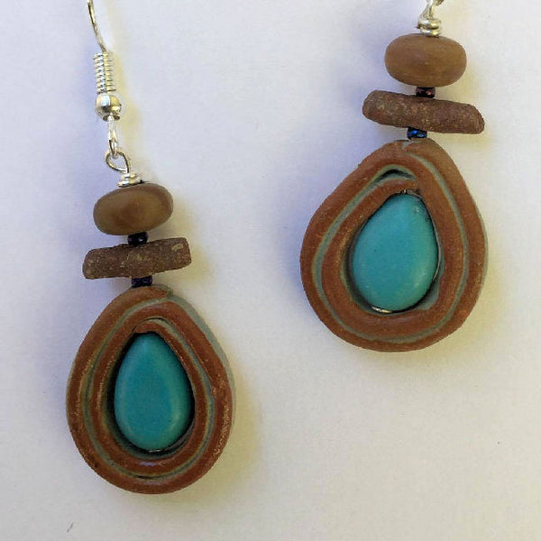 Handmade Clay bead earing with accent bead