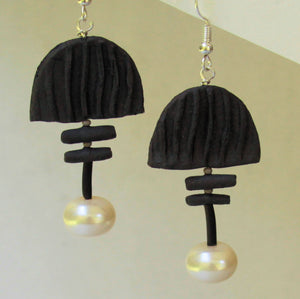 Earrings with Hand Made Stoneware Pottery Bead