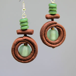 Earrings with Hand Made Stoneware Pottery Bead and Silver Foil Bead