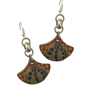 Clock Earrings hand-made stoneware beads