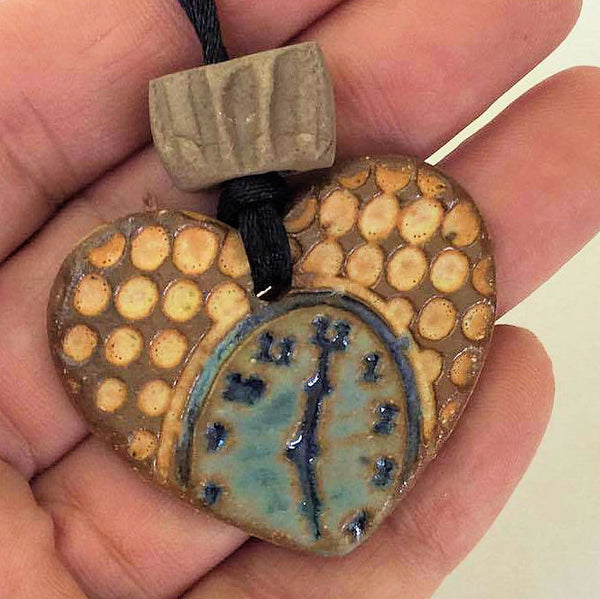 Clock Oil Diffuser Pendant Heart Shaped Pottery Clay Handmade