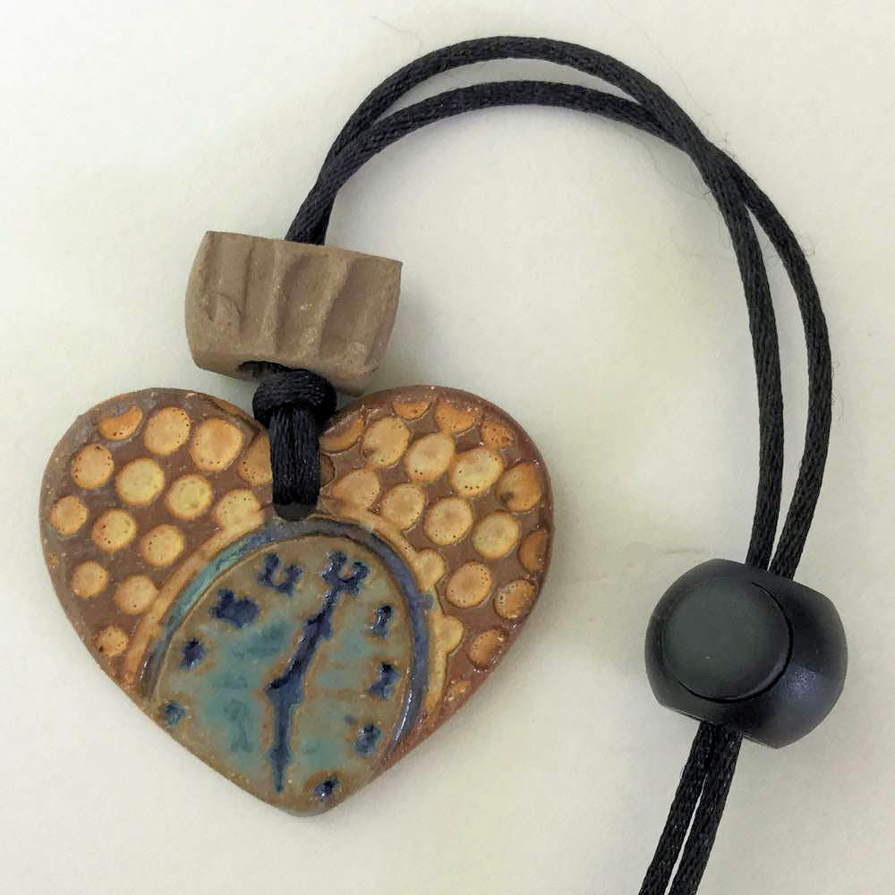 Clock Heart Shaped Rear View Mirror oil diffuser clay pendant