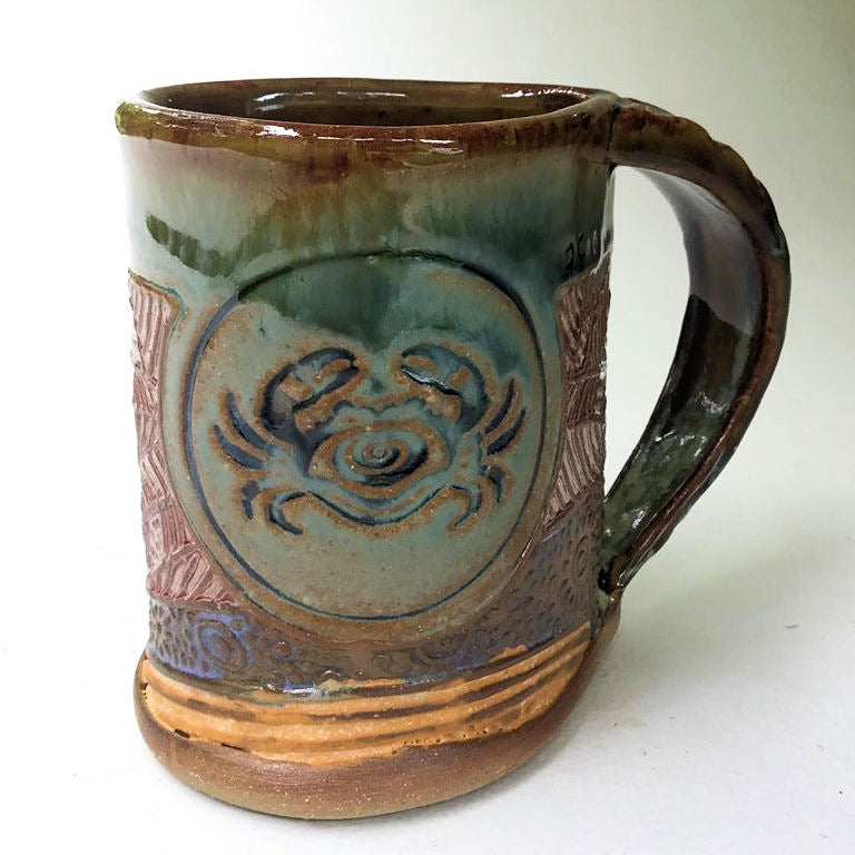 Crab Pottery Mug Coffee Cup Handmade Stoneware Tableware 12 oz