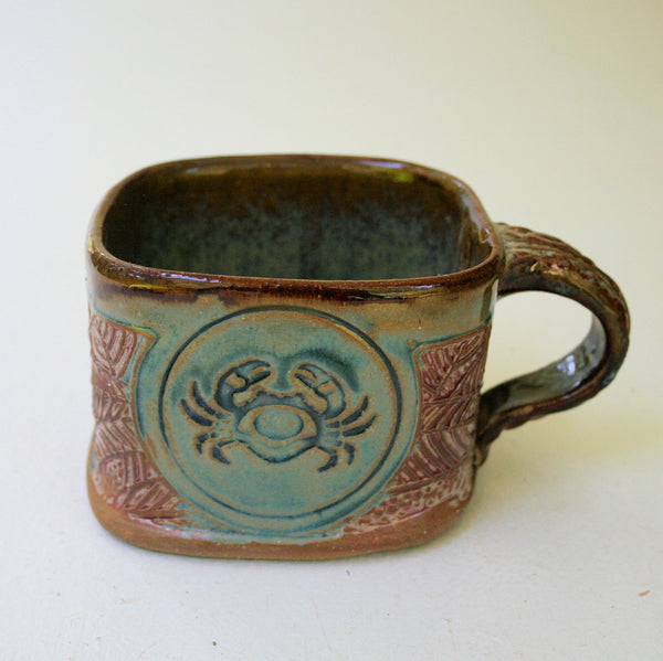 Crab Soup Mug Hand Built Stoneware Microwave and Dishwasher Safe