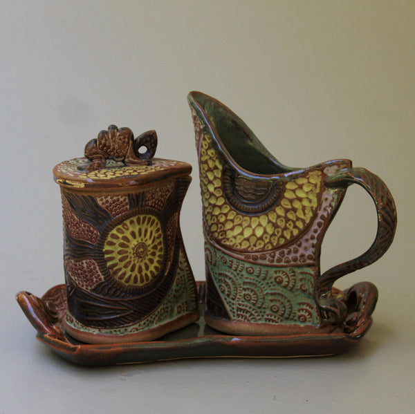 Cream and Sugar Set Sun Design Pottery Handmade Functional Tableware