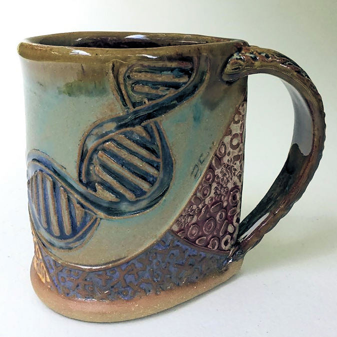 DNA Pottery Mug Coffee Cup Handmade Stoneware Tableware Microwave and Dishwasher Safe 12oz