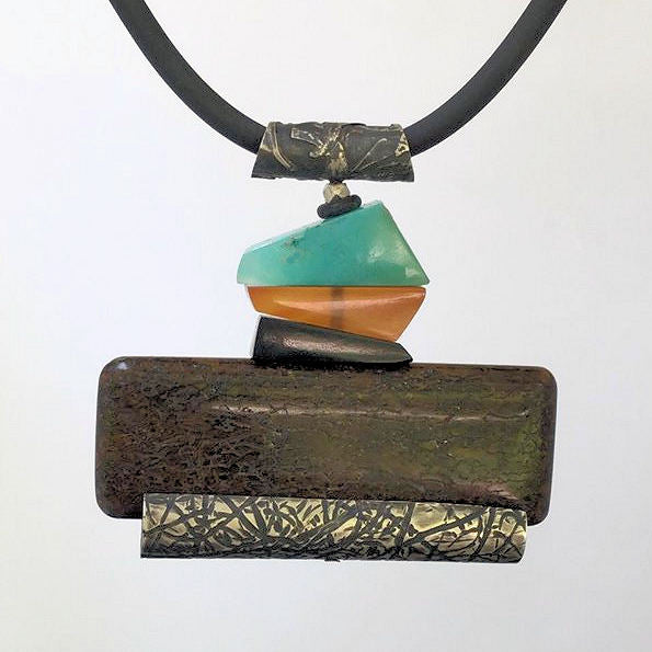 Dinosaur bone, Black Jade, Carnelian, Gem Silica and Mississippi Peanut Brickle Stone Pendant