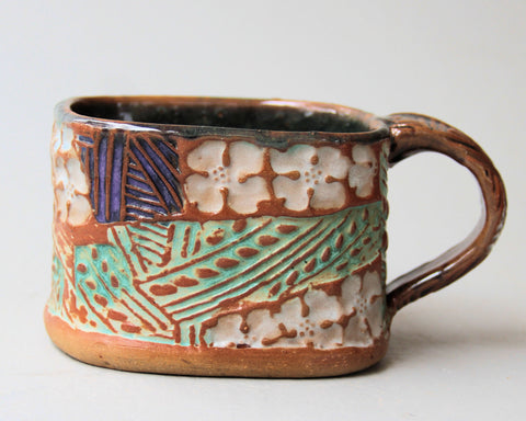 Dogwood Bloom Soup Mug Hand Built Stoneware Microwave and Dishwasher Safe