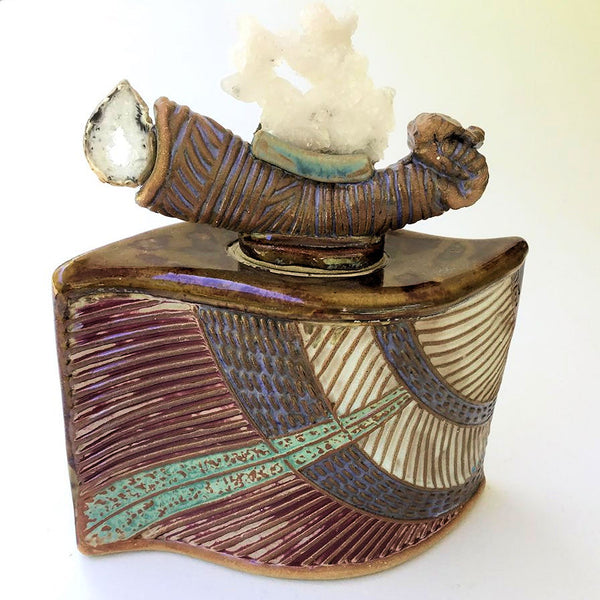 Water Dragon Nature Vessel With quartz and geode lid