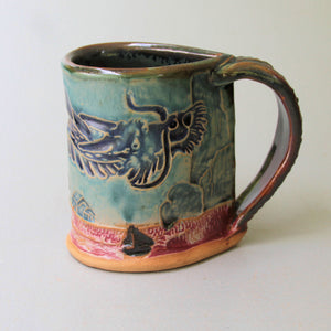Dragon Mug Handmade Pottery Dragon Mug Clay Coffee Cup 12 oz